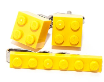Yellow Lego Brick Cufflinks and Lego Plate Tie Clip  Handmade Cuff links