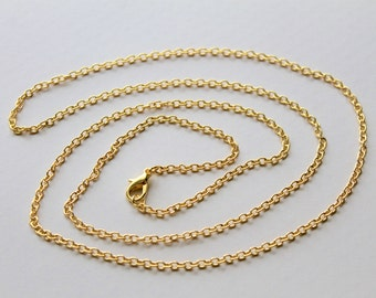Wholesale Gold Plated Chains / Finished Cable Link Chains / Lobster Clasp / Bulk Discount Chains / Jewelry Making Supplies / Chain Findings