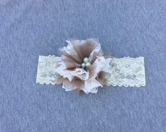 Newborn Shabby Chic Floral Headband