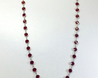 "Raindrops Necklace - Dark Red/Rhodium 36"" Swarovski crystal"