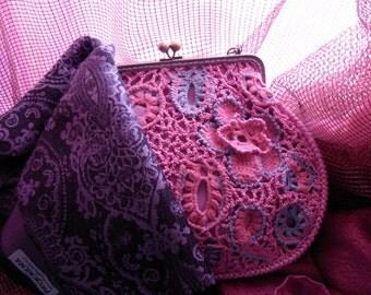 Frame purse Pink lace Bridesmaids bag Irish lace bag Crochet purse Flower bag Knit lace bag Clasp purse Women accessory Victorian Style bag
