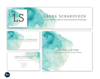 Business Branding - Store banner - Watercolor Business Cards - Graphic Design - Watercolor Branding - Stock Images - Photoshop templates