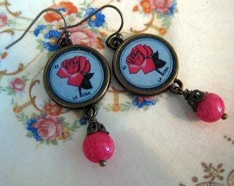 La Rosa- Loteria Rose Earrings