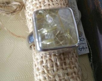 Golden rutilated quartz silver ring