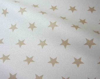 cotton fabric stars white beige 2,2cm France