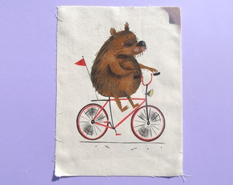 Bear on a Bike - Art Print