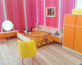 Dollhouse miniature furniture, scale 1:12, bedroomset,vintage, midcentury