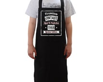 Personalisable Black Apron, Vintage Aged To Perfection BBQ Cooking Aprons In Three Sizes, Large Pocket For Utensil Storage