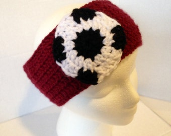 Crocheted soccer headband