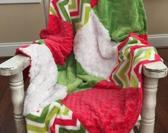 Chevron Patchwork Minky Blanket / Soft Baby Blanket / Chevron Blanket / Minky Blanket / Baby Shower Gift