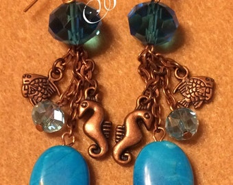 Seahorse and Crystal Earrings