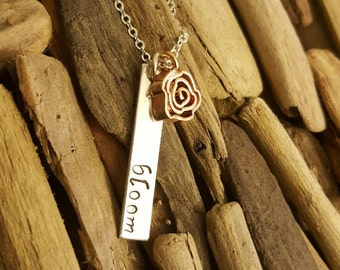 Bloom necklace, hand stamped