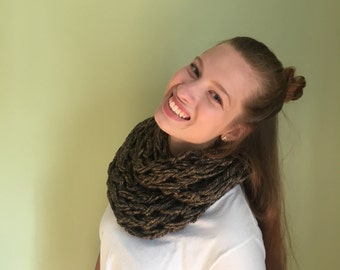 Winter Brown Hand-knit Chunky Scarf