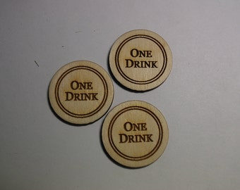 "50 Engraved ""One Drink"" Tokens"