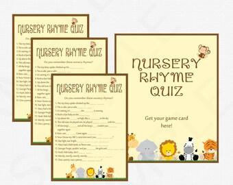 Safari Baby Shower Nursery Rhyme Baby Shower Quiz - Game & Sign - Nursery Game / INSTANT DOWNLOAD / PRINTABLE Gender Neutral Bs0001-N