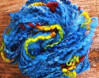 Handspun wool locks art yarn - Blue Sea