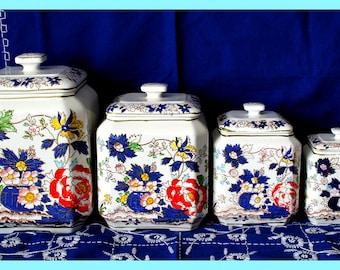 Beautiful 4 Piece Canister Set - Vintage Royal Crown Hand Painted Asian Floral Design Porcelain