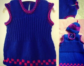 Pinafore baby dress and hat