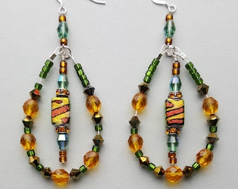 Gold and Green Dichroic Bead Loop Earrings