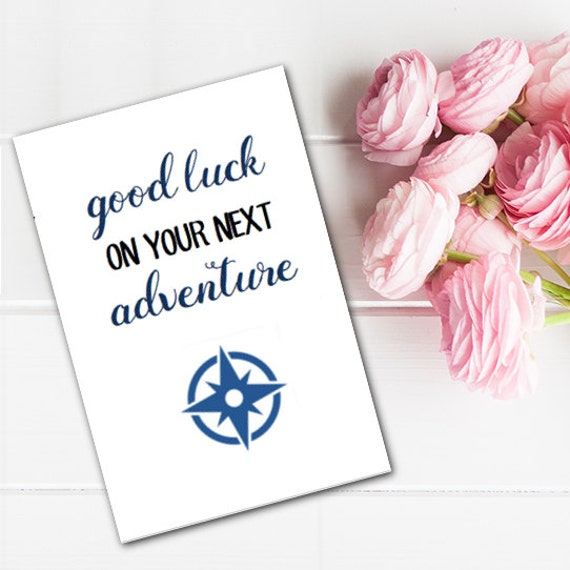 Greeting card good luck on your next adventure printable last greeting card good luck on your next adventure printable last minute instant download diy m4hsunfo Choice Image
