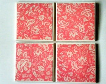 PINK and WHITE  FLORAL Print Ceramic Tile Coasters Set of 4