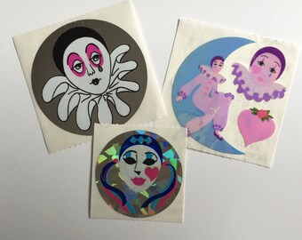 Vintage set of Pierrot Clown Stickers