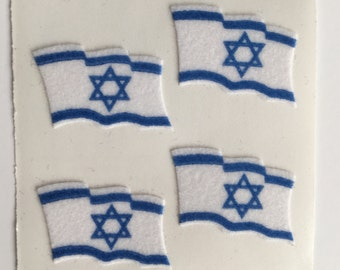 Fuzzy Sandylion Israeli Flag Stickers
