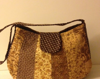 One of a Kind Machine Quilted Brown Medium Size Purse