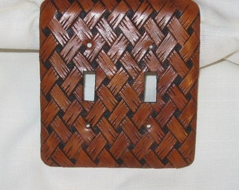 Hand Carved Leather Switch Plate Covers
