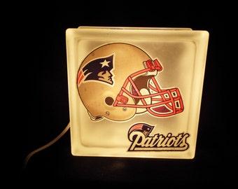 Large New England Patriots Glass Block Lamp