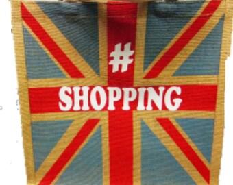 Union Jack Hessian Printed Medium Size Bag