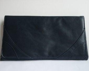 Vintage  Dark Blue Leather Clutche Dark Blue Handbag Purse 1980s