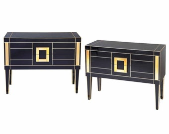 Commode in Colored Glass Black and Gold . Mirrored Furniture. Choose your colour!