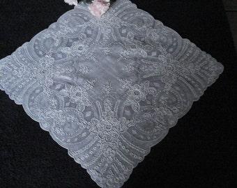 Delicate Vintage, Madeira, Bridal Handkerchief, Hankie, Silver Hankie, Bride's Handkerchief, Wedding Gift, Ladies Accessories, Ladies Gift