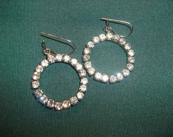 Hollywood Glam Vintage Rhinestone Hoop Earrings