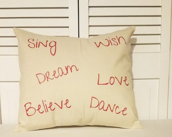 Pillow cover, envelope pillow, affirmation quotes, affirmation pillows, affirmation pillow cases, believe, love, home decor, pillow decor