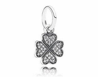 Authentic Pandora Symbol of LUCKY IN LOVE Dangle Charm Bead Shamrock