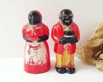Vintage Mammy and Pappy Salt and Pepper Shakers / Mammy and Pappy Shakers / Vintage Salt and Pepper Shakers / Vintage Plastic