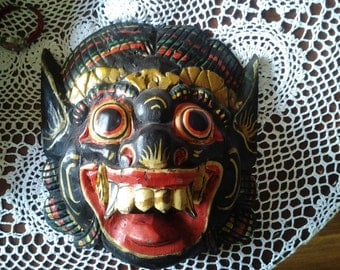 25% off Vintage Paper Mache Mask - Devil Hand Made And Hand Painted