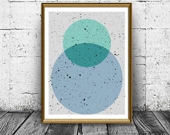 Wall Art Prints, Geometric Print, Home Decor, Abstract Art Prints, Geometric Decor, Abstract Wall Art, Abstract Art Print, Green Bubbles