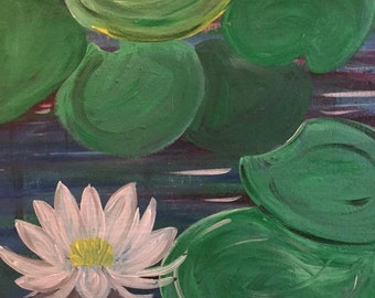 Waterlily 16 x 20 Acrylic Painting on Canvas