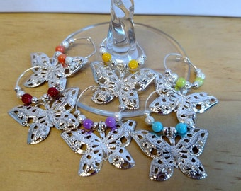 Butterfly wine charms set of 6