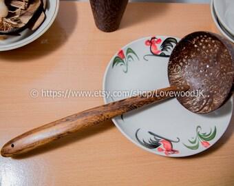"Ice wood ladle Scoop straining Ladle,Coconut shell soup Ladle  10"""