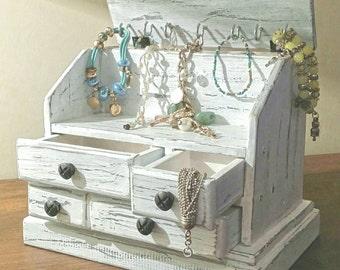 wooden jewelry box shabby chic whit dravers white jewelry holder