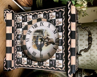 Drink Me. Alice in Wonderland Clock. Drink Me Clock. Unique Clock. Unusual Clock. Alice in Wonderland Decor. Mantel Clock. Carriage Clock