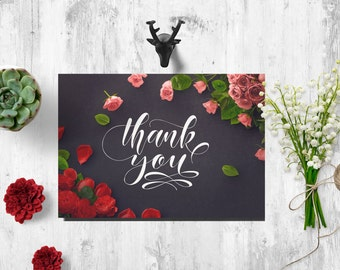 Thank you cards printable, thank you card roses, thank you card black, Thank You Cards 4x6, 8x10 Instant Download, Thank You Cards Wedding