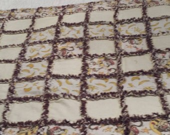 Cute Monkey Rag Quilt   Pale, yellow, pale pink, brown