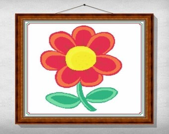 CROSS-STITCH-PATTERN-Flower, Instant download pdf