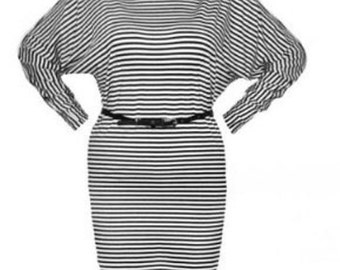Striped Dress / Kimono sleeves / White-Black