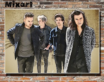 One Direction 19x13 Print, Poster, Wall Art, Sketch, 1D, Harry Styles, Niall Horan, Liam Payne, Louis Tomlinson, Pop